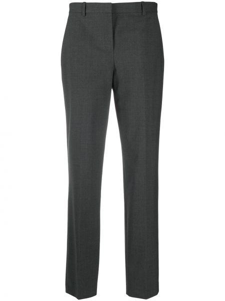 Шерстяные серые брюки узкого кроя Theory