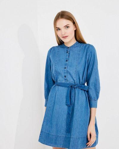 Синее платье с длинными рукавами French Connection