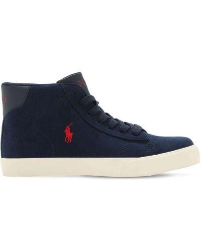 Skórzany ażurowy niebieski sneakersy na sznurowadłach Ralph Lauren