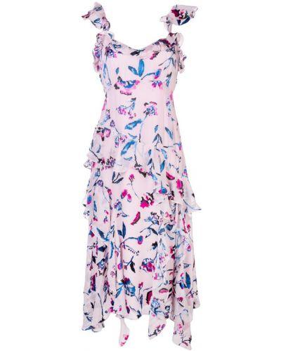 Платье розовое с цветочным принтом Tanya Taylor