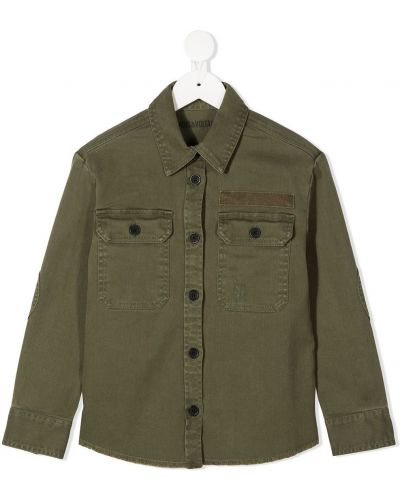 Зеленая классическая рубашка с воротником с карманами на пуговицах Zadig & Voltaire Kids