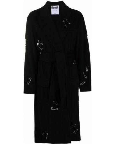 Шерстяное черное длинное пальто с карманами Moschino