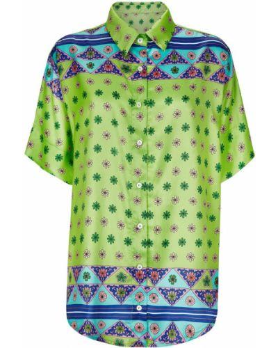 Зеленая классическая рубашка с короткими рукавами с воротником Frankie's Bikinis
