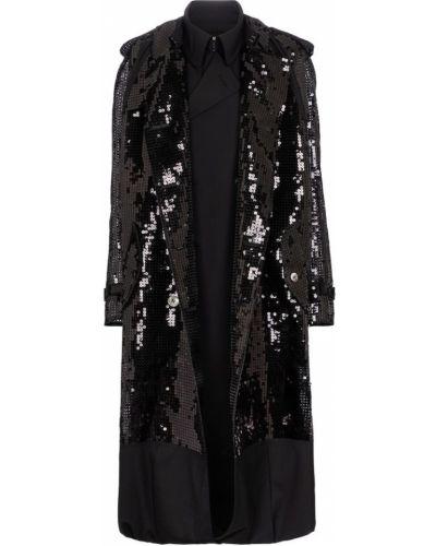 Шерстяное черное пальто с пайетками Junya Watanabe