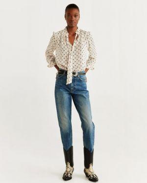 Блузка с длинным рукавом с бантом с V-образным вырезом Mango
