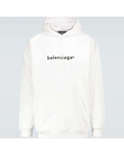 Ze sznurkiem do ściągania bawełna biały bluza z kapturem Balenciaga