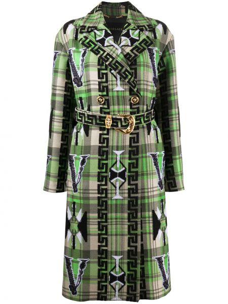 Zielony płaszcz wełniany z paskiem Versace