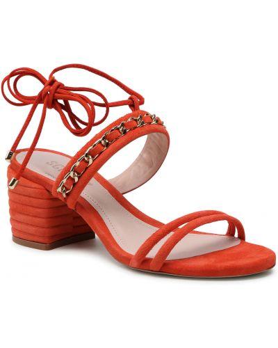 Czerwone sandały zamszowe Schutz