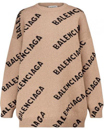 Beżowy wełniany sweter Balenciaga