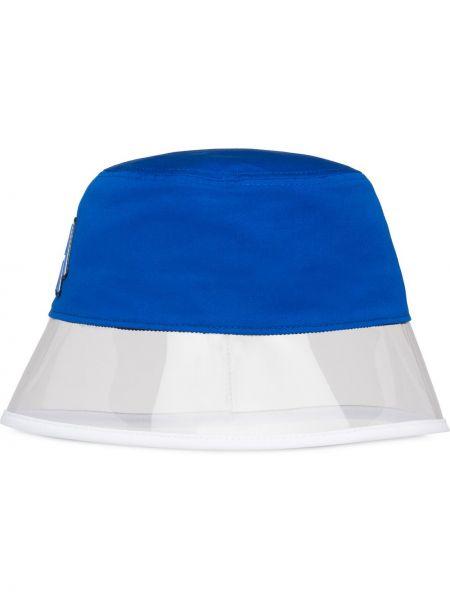 Niebieski kapelusz bawełniany z haftem Prada