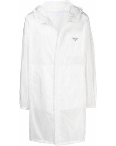 Płaszcz przeciwdeszczowy z łatami z długimi rękawami z kieszeniami Prada