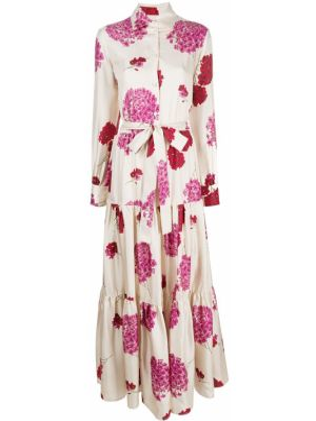 Платье макси розовое на пуговицах La Doublej