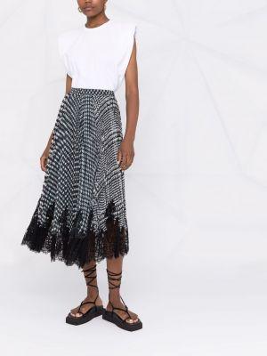 Czarna spódnica plisowana koronkowa z wiskozy Ermanno Scervino