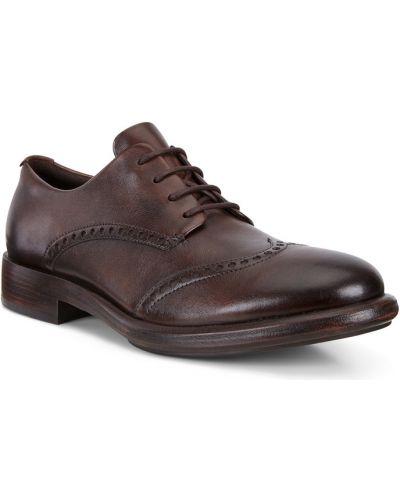 Туфли с перфорацией кожаные на шнурках Ecco