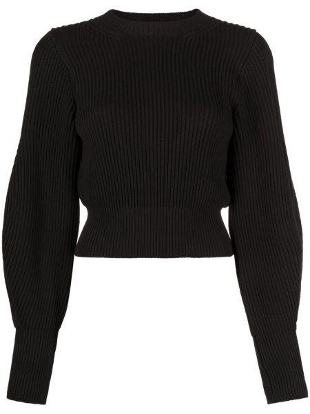 Prążkowany czarny długi sweter bawełniany Wandering