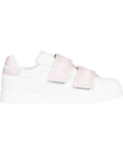 Кожаные кроссовки на липучках белый Dolce&gabbana