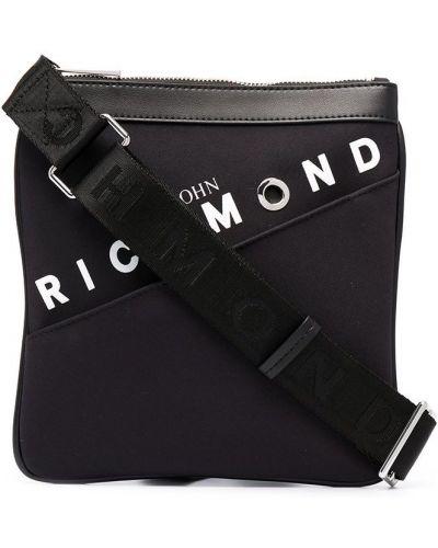 Włókienniczy z paskiem czarny torba kosmetyczna John Richmond