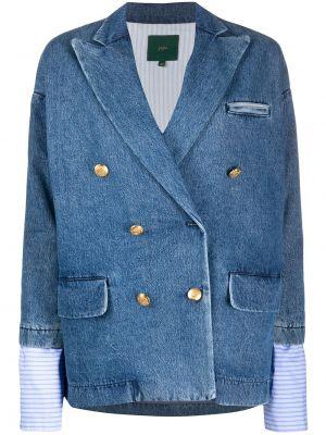 Синий джинсовая куртка двубортный с карманами Jejia