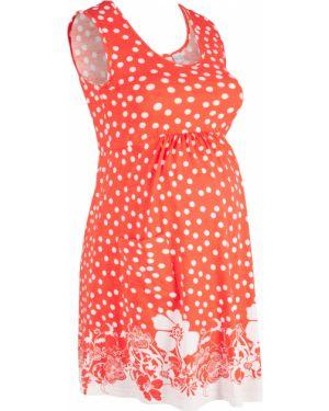 Платье для беременных в горошек с цветочным принтом Bonprix