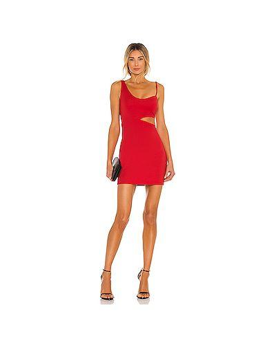 Трикотажное красное платье с подкладкой H:ours