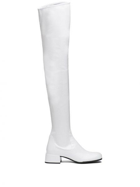 Biały buty na pięcie z prawdziwej skóry okrągły na pięcie Prada