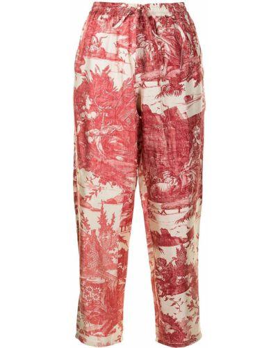 Красные шелковые прямые брюки Pierre-louis Mascia