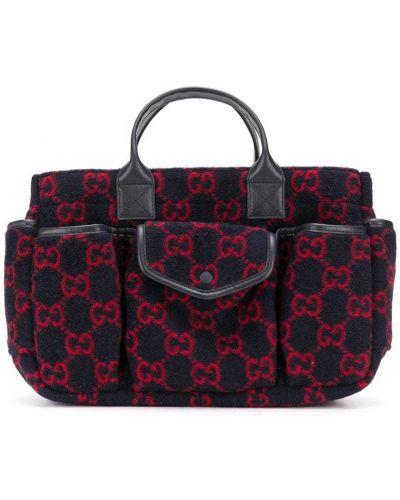 Синяя кожаная сумка-тоут с карманами Gucci Kids