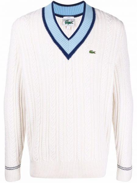 Sweter wełniany - biały Lacoste