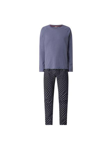 Niebieska spodni piżama bawełniana z raglanowymi rękawami Esprit