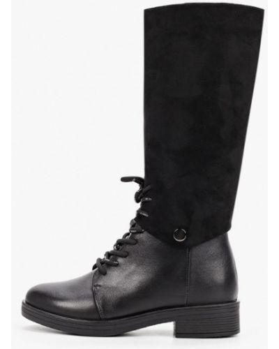 Кожаные сапоги - черные Kari