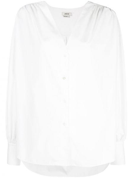 Хлопковая белая рубашка на пуговицах с V-образным вырезом Jason Wu