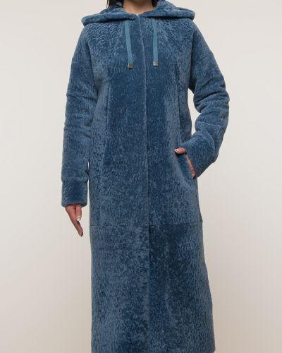 Прямое синее пальто с капюшоном Aliance Fur