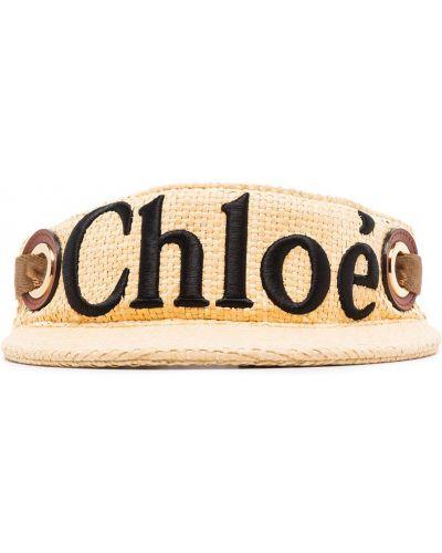 Beżowa czapka bawełniana z haftem Chloe
