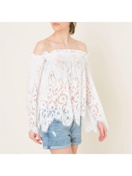 Нейлоновая блузка с открытыми плечами с оборками на резинке с вырезом Valerie Khalfon