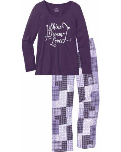 Пижамная фиолетовая пижама с брюками с длинными рукавами Bonprix