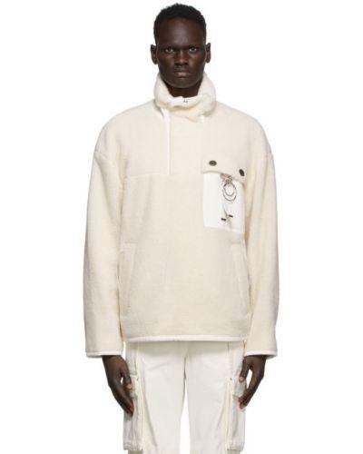 Флисовый белый свитшот с воротником с подкладкой Wooyoungmi