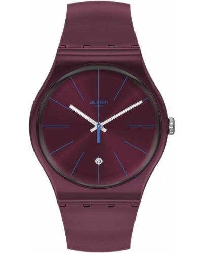Фиолетовые силиконовые часы водонепроницаемые Swatch