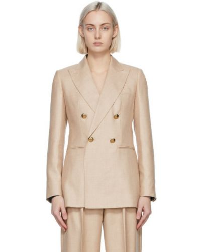 Бежевый удлиненный пиджак двубортный с карманами Max Mara