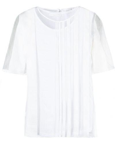 Шелковая белая блузка с короткими рукавами Fabiana Filippi