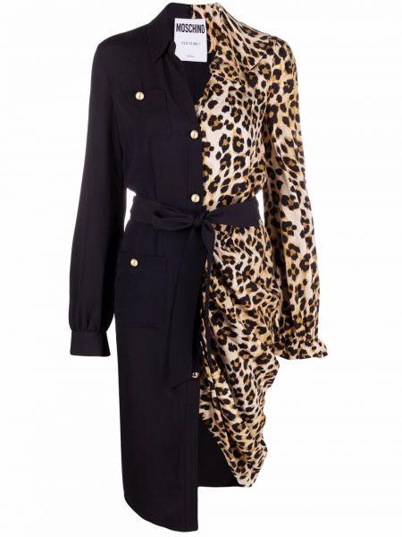 Черное платье рубашка Moschino