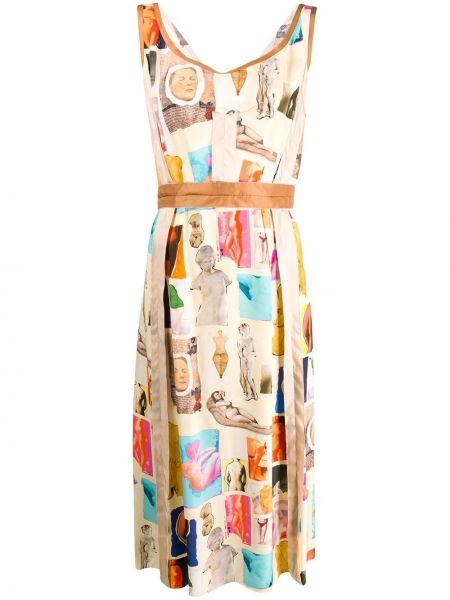 Платье миди с открытой спиной пэчворк Marni