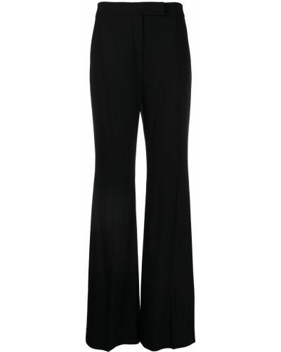Расклешенные черные с завышенной талией брюки из вискозы Elie Saab