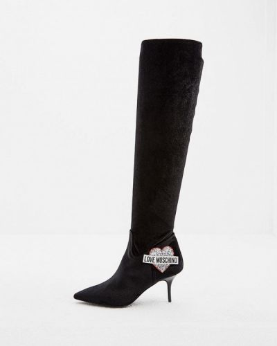 Ботфорты на каблуке кожаные Love Moschino