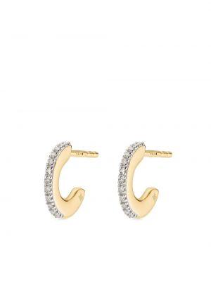 Серьги-кольца золотые с бриллиантом позолоченные Monica Vinader