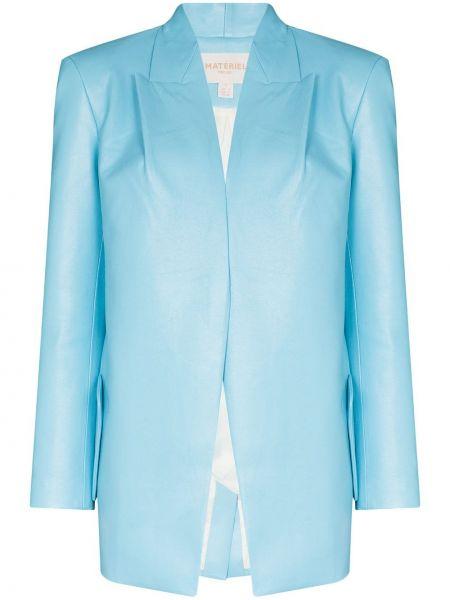 Синий кожаный пиджак с карманами Matériel