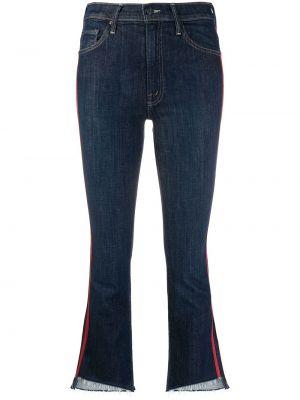 Синие укороченные джинсы с нашивками стрейч в стиле бохо Mother