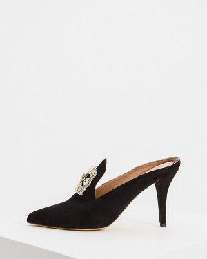 Черное кожаное сабо на каблуке By Malene Birger
