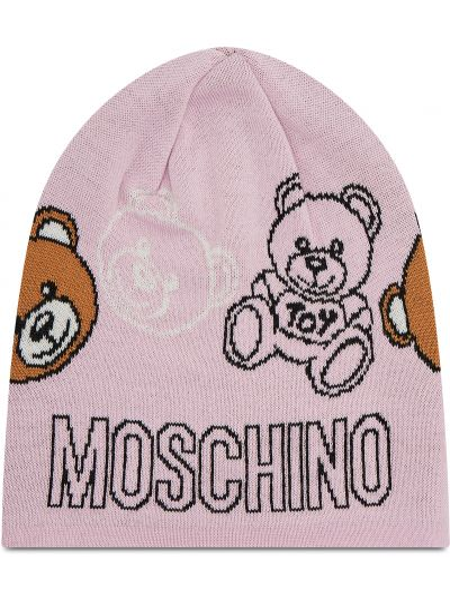 Różowa czapka z akrylu Moschino