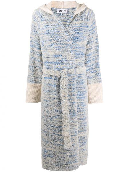 Синее пальто с капюшоном с запахом Loewe