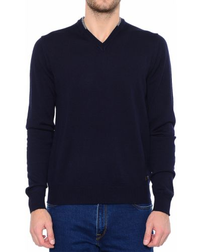 Пуловер шерстяной синий Trussardi Jeans